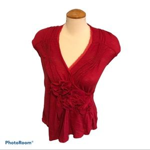 Anthropologie Red Rose Appliqué Top by Deletta S
